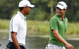 Adam Scott and Tiger Woods